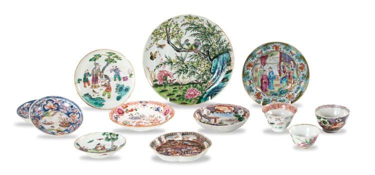 A collection of Chinese porcelian: nine dishes and 3 teabowls