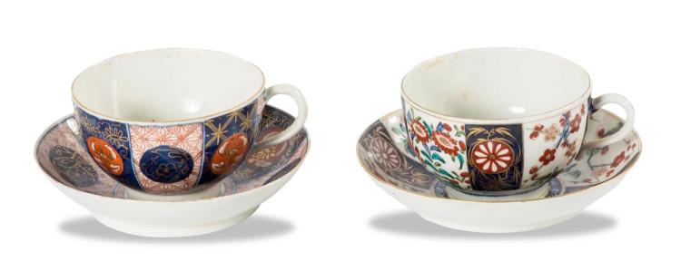 Two Imari decorated tea bowls with saucers, Worcester, English, circa 1770