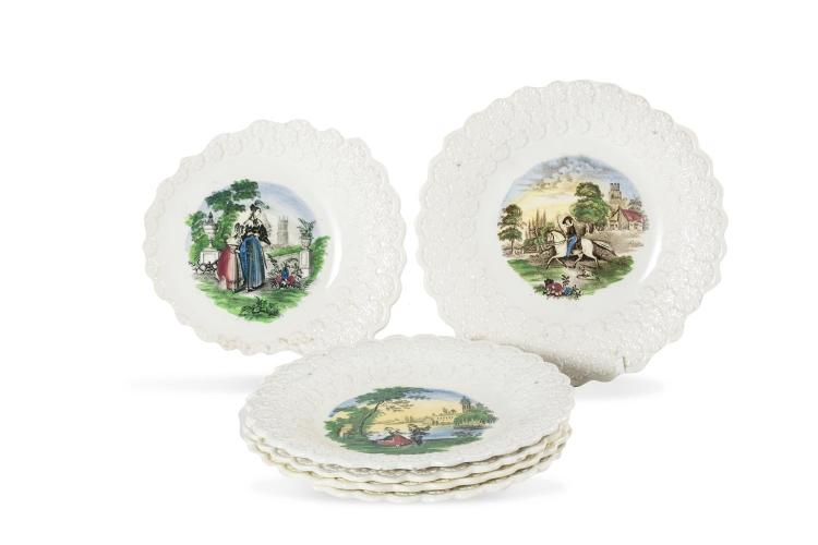 A set of six printed childs plates, Continental, 19th century