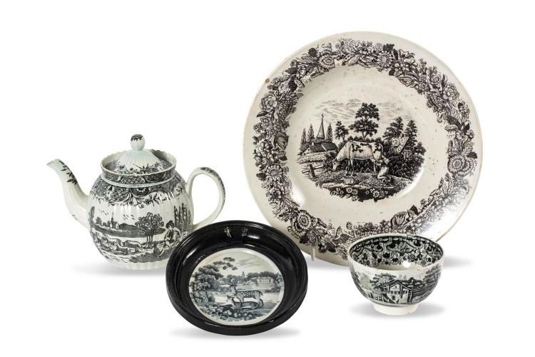 A collection of four Victorian black transfer pieces, English, 19th century