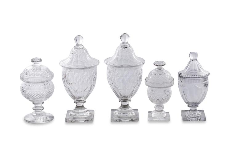 A collection of five cut glass lidded sweet meat dishes, English, 19th century