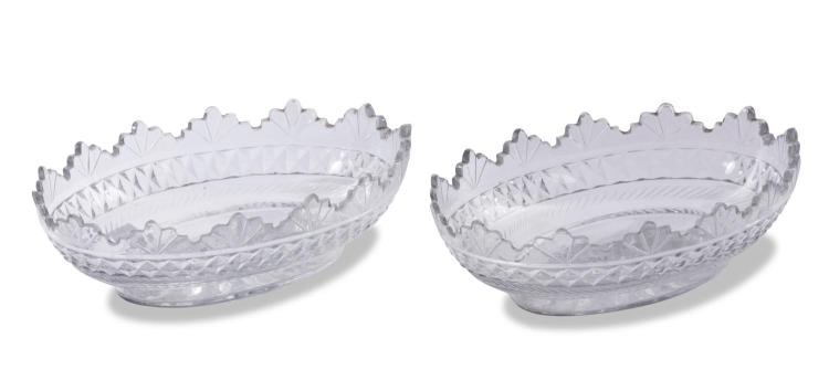 A pair of cut glass dishes, English, 19th century