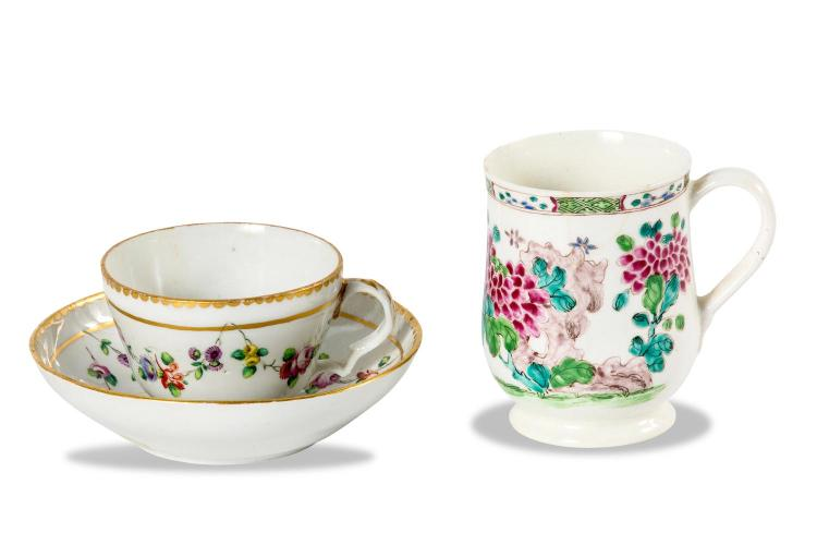 A Bristol cup and saucer, English circa 1780, together with a Bow tankard, English circa 1770