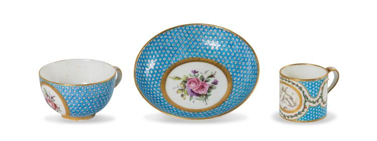 A Sevres first republic cup and saucer painted by Theodore, English 1793-1804, together with a sevres style coffee can