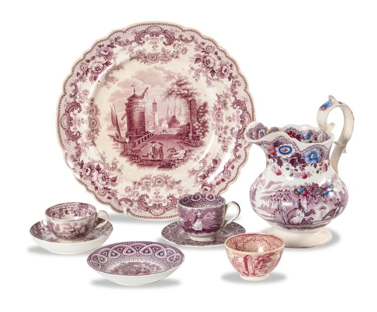 A collection of English earthenware including teacups, saucers, plates and a jug, English 19th century