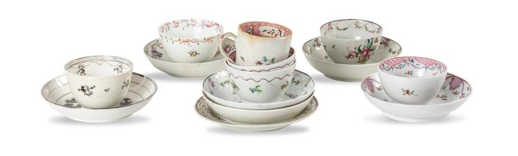 A collection of various cups and saucers, English late 18th century