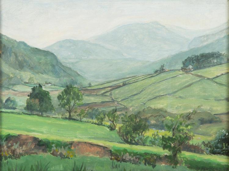 P. PLUMMER (WELSH, ACTIVE 20TH CENTURY)Towards Helvellyn, 1983oil on boardsigned and dated lower right: P.PLUMMER '8321.5 x 29 cm