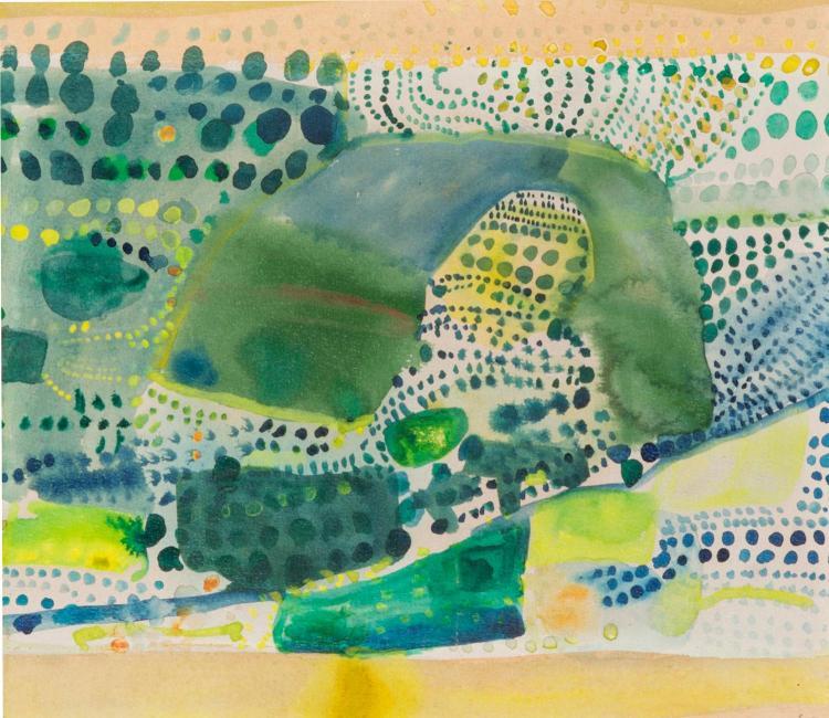 JOHN OLSEN (BORN 1928)  Portugal and Olive Trees, 1966