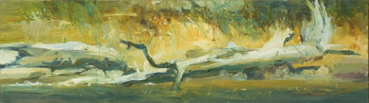 DAVID NASEBY (BORN 1937) King River Landscape, 1998(Fallen Log), 2000oil on canvassigned and dated lower left: naseby 0028 x 99 cm