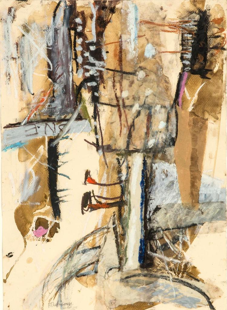 ANN THOMSON (BORN 1933)Synergy I, 1992oilstick, gouache and collahe on papersigned and dated lower left: A Thomson 92bears Australian Galleries label verso50 x 36 cm