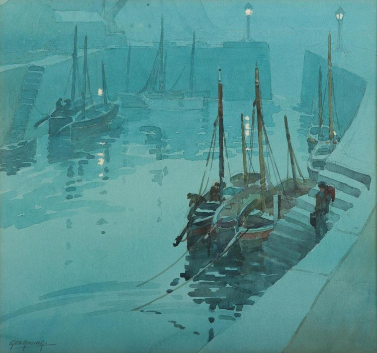 GEORGE AYLING (BRITISH, 1887-1960)  (Docked Boats)
