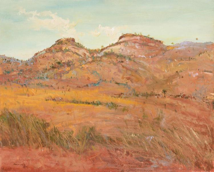 DAVID NASEBY (BORN 1937)Two Hills, Bungles, 1999oil on canvassigned and dated lower left: Naseby / 9961 x 76 cmPROVENANCECharles Hewitt Gallery, Sydney