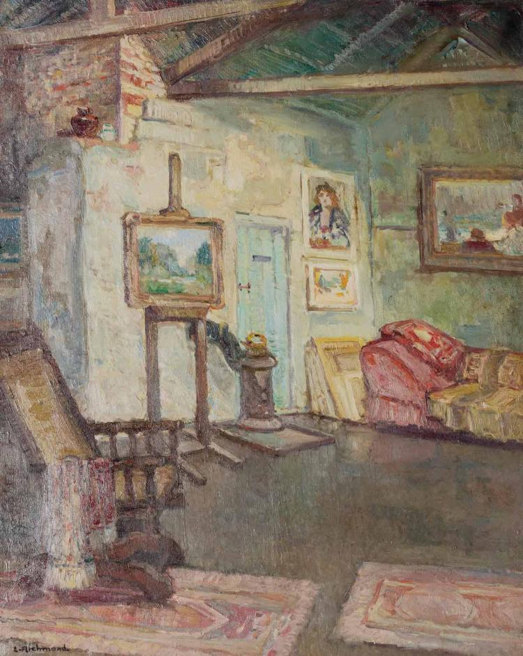 LEONARD RICHMOND (1889-1965)An Artist's Studio, St Ivesoil on cavas, signed lower left L.Richmond inscribed with title verso 101 x 180 cm