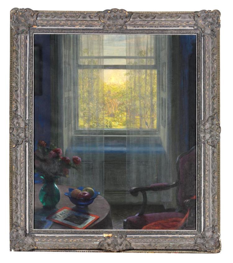 FEODOR ZAKHAROV (RUSSIAN, 1882-1967)(New York Interior onto Central Park)oil on canvassigned lower right: Feodor Zakharov79 x 64 cm