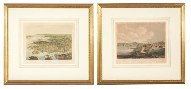 Two engravings of Sydney Harbour