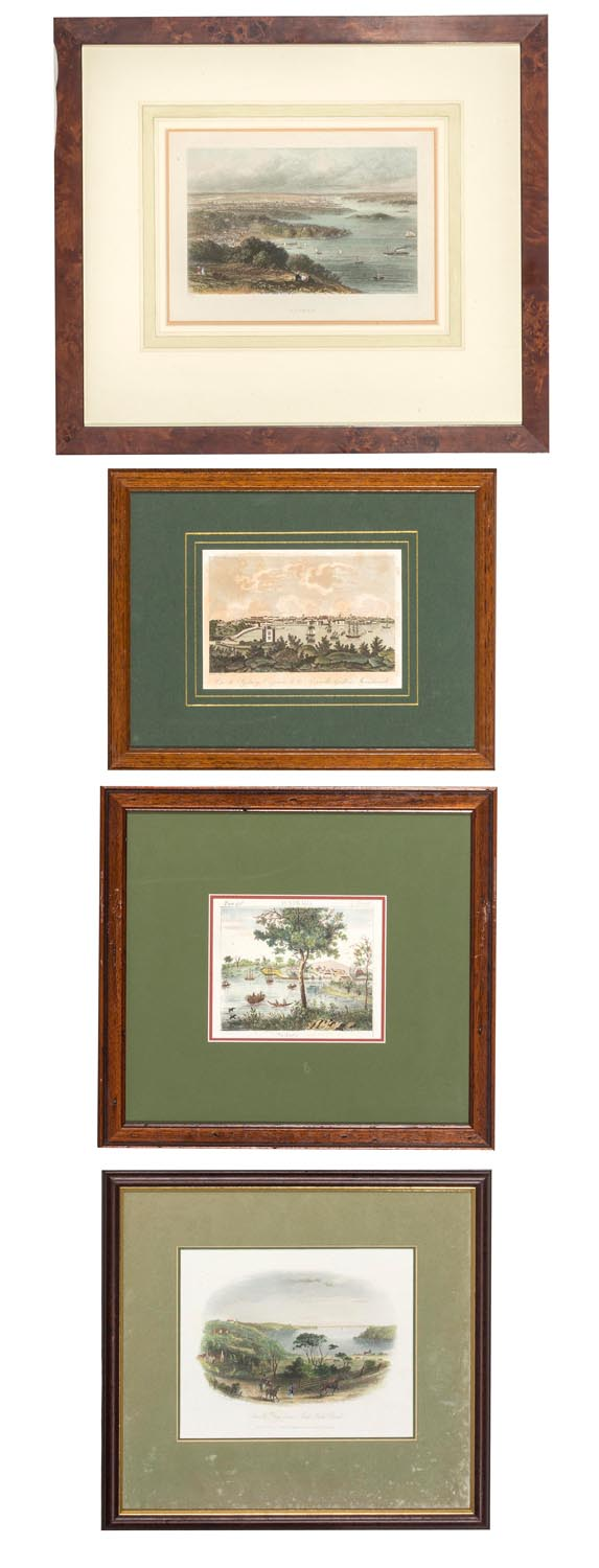 Four early views of Sydney Harbour, English, 19th century