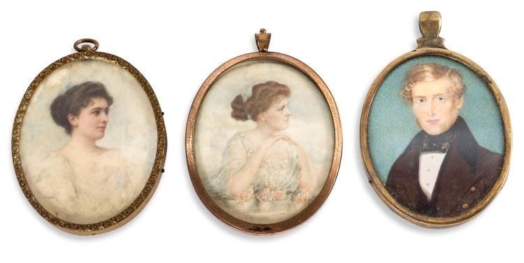 A set of three framed images, English, 19th century