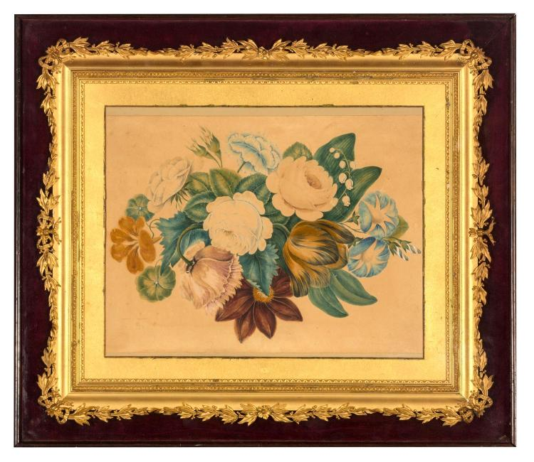 A Victorian watercolour bouquet of flowers with original mount, English, 19th century