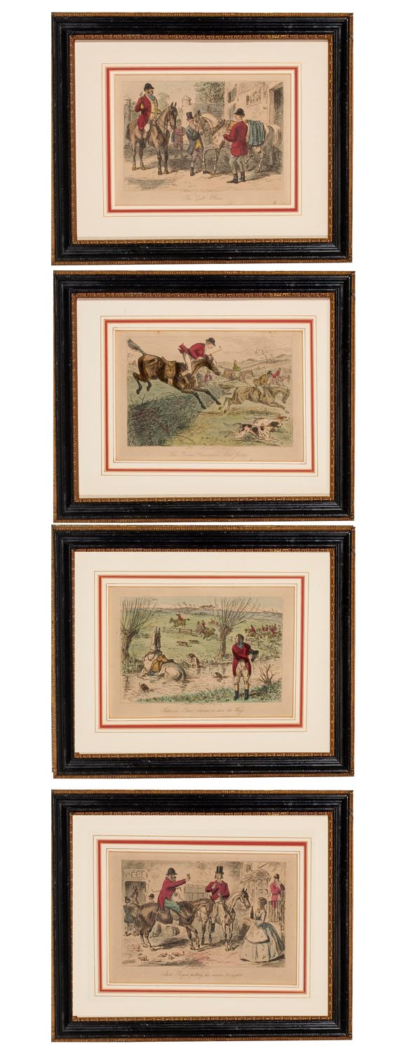 A set of four Victoria coloured engraving from a hunting scenes, English, 19th century