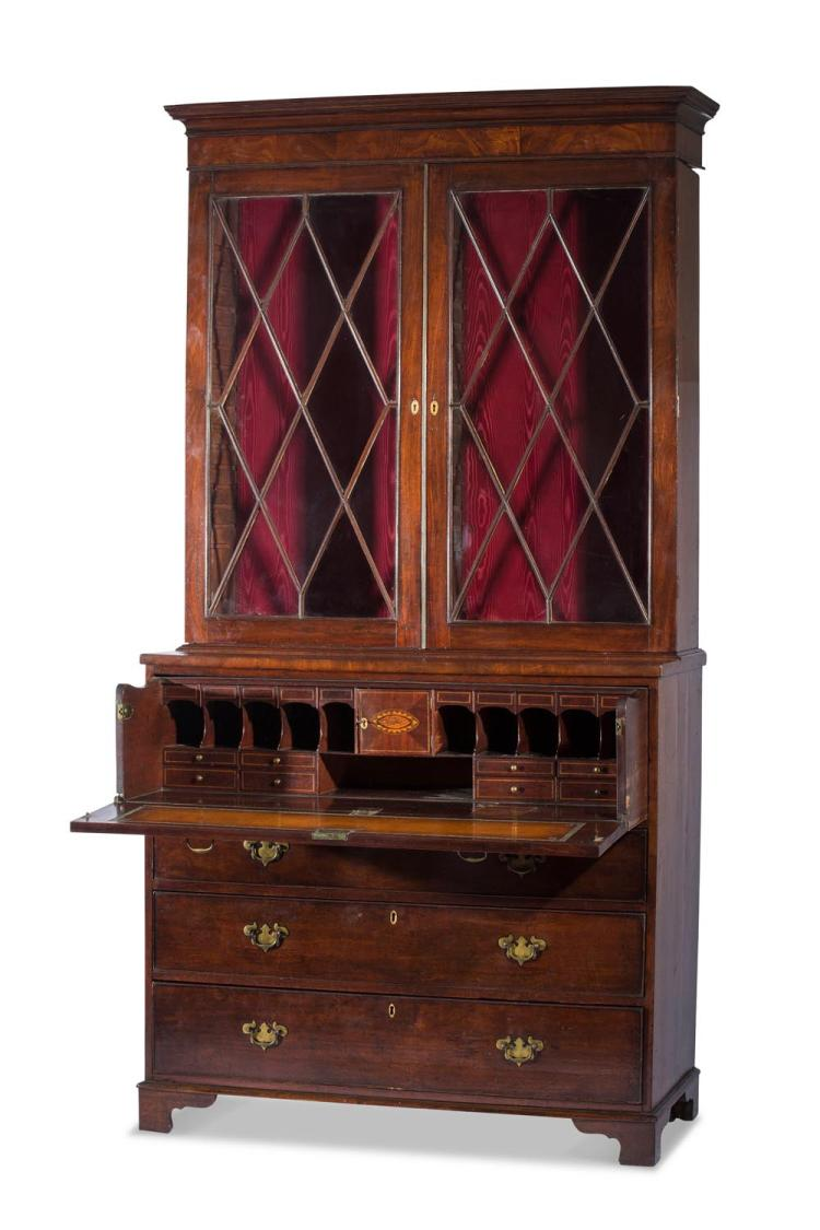 A Georgian mahogany secetaire bookcase.English 19th centuryheight 241,width 121, depth 57