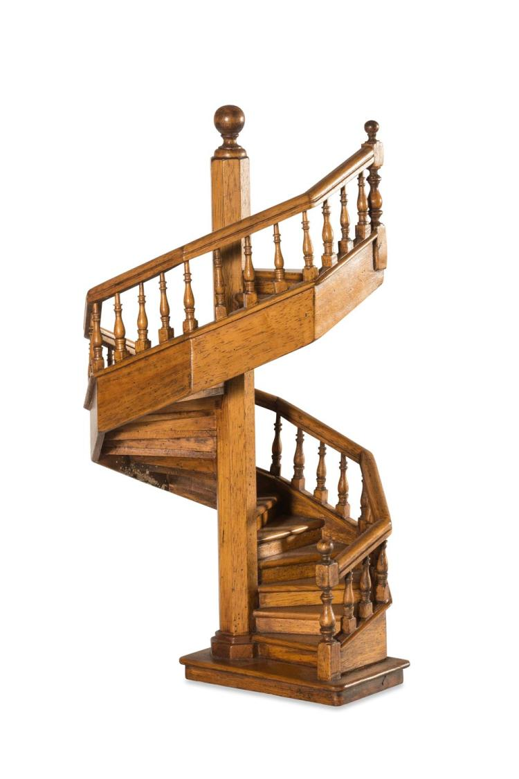 A miniature timber staircase