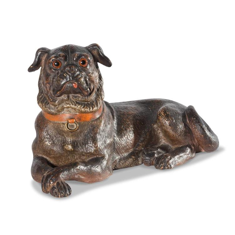 An Austrian cold terracotta painted model of a dog