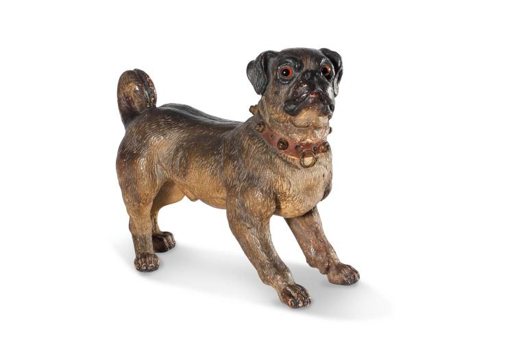 An Austrian cold painted terracotta dog