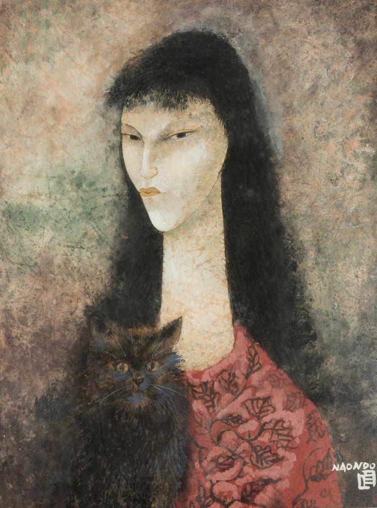 NAONDO NAKAMURA (JAPANESE, 1905-1981)   (Portrait of a Lady with a Cat)