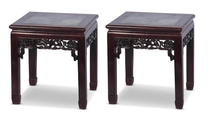 A pair of Chinese hardwood and marble tables