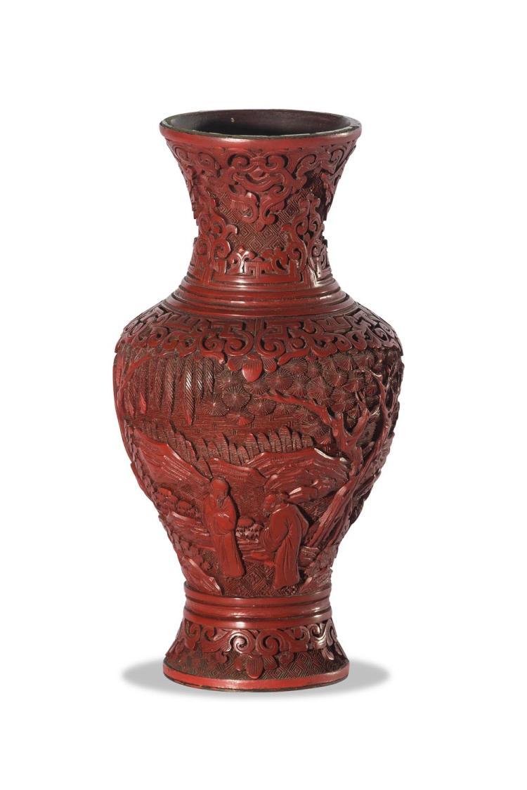 A cinnabar lacquer vase