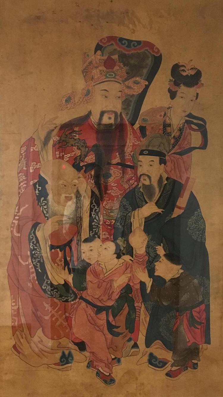 A Chinese scroll depicting acestoral portraits