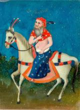 A Indian back painting on glass, Horse and Rider, 19th century