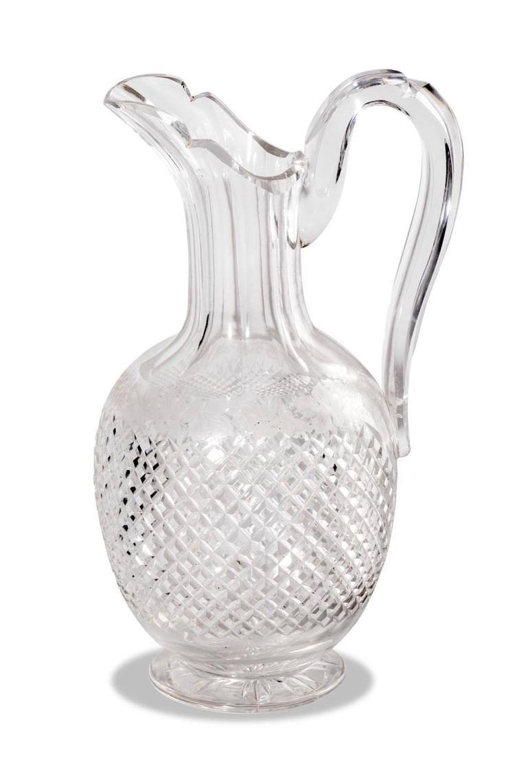 A cut and engraved crystal jug, 19th century, English