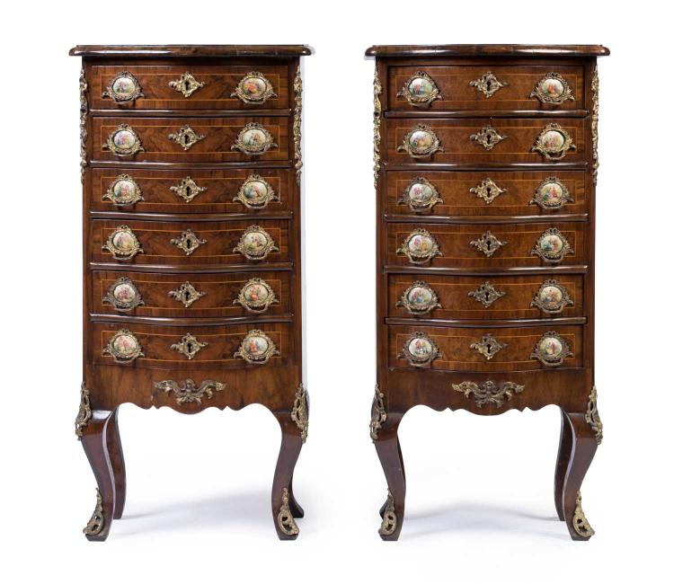 A Pair Of Louis Xv Style Walnut Serpentine Chests Late 19th