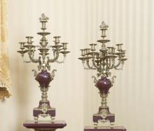 A pair of Louis XV style gilt bronze mounted rouge marble eight light candelabra, late 19th century82 cm high