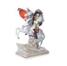 A German porcelain figure of Napoleon on horseback, 20th century40 cm high