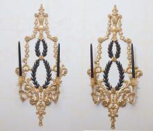 A pair of carved giltwood torchère lamps, 20th century