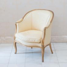 A Louis XI style giltwood upholstered bergère, 19th century