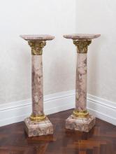 A pair of Louis XVI style Breche d'Alep tapering gilt metal mounted pedestals108 cm high, 32 cm wide, 32 cm deep