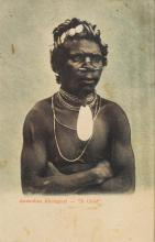 A collection of eight framed postcard and lithographic images by Kery & Co, Sydney, Swain & Co, Sydney and others depicting aboriginals, including King Billy, Tasmanian and New South Wales Aborigines.