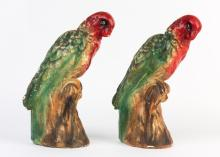 A pair of chalkware hand painted parrot statues, early 20th century