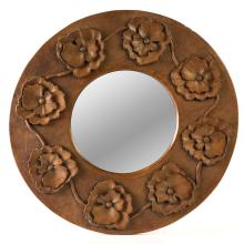 An Australian chip-carved mirror with poppy motif, circa 1900