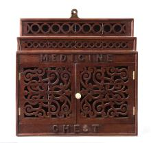 A small pierced work Anglo-Indian hanging medical cabinet