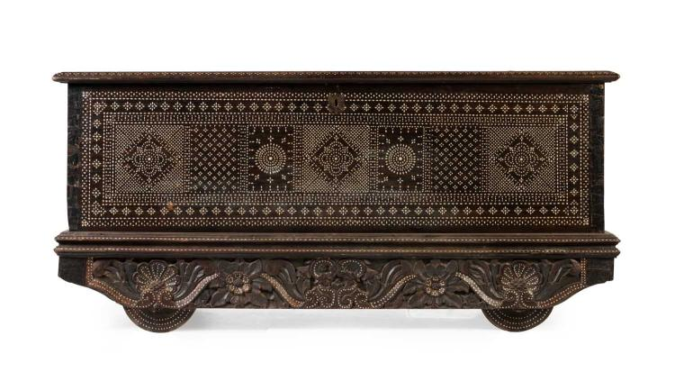 A large Goan mother-of-pearl inlaid hardwood marriage chest, Indian, 19th century
