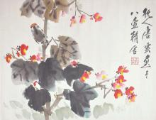 An ink and color on paper of bird and flowers by Tang Yun