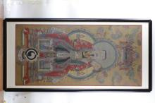 Framed Chinese portrait painting of a Taoist from Qing dynasty