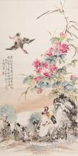 Flower and Birds Painting by Ding Bao Shu