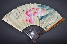 An Ink and Color on Paper Fan of Shrimps and Pond by Tang Yun