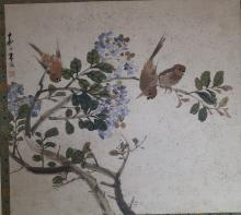 An Ink and Color on Paper of Birds and Flowers by Zhu Meng Lu