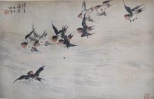 An Ink and Color on Paper of Swallows by Hu Zhang He